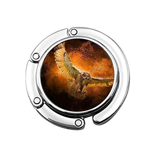 Netter Faltbarer Geldbeutel-Aufhänger für Tisch, Geldbeutel-Haken-Kunst-Eulen-Greifvogel-orange Nacht