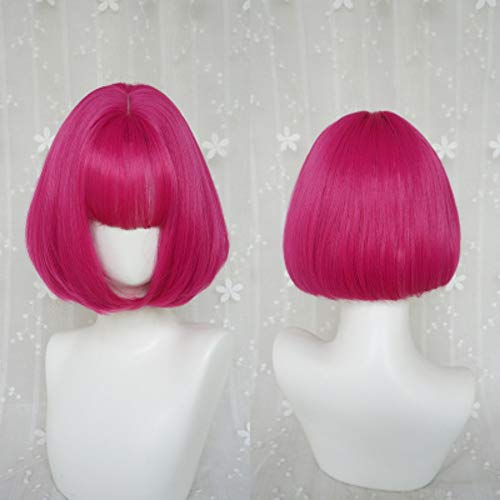 Cosplay Perücke Natürliche hitzbeständige Kunstfaser Beauty Smooth Harajuku Style Sexy Damen Halloween stilvoll Party Armreif für kurze Haare mit roter Rosenschnalle