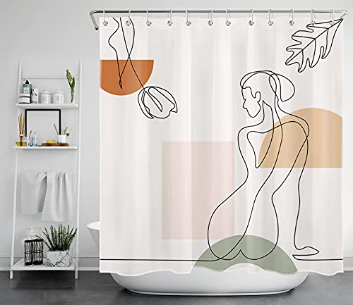 HVEST Modern Abstract Woman Shower Curtain, Shapes Line Art Shower Curtain, Minimalist Fabric Shower Curtain Aesthetic Bathroom Shower Curtain, 72W x 72H Inch with Hooks