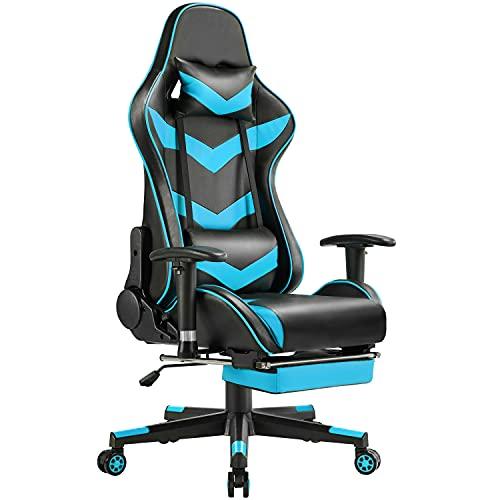 Yaheetech Gaming Stuhl Racing Stuhl ergonomischer Drehstuhl Höhenverstellbarer Schreibtischstuhl PC Stuhl mit Fußstütze Hohe Rückenlehne mit einstellbaren Armlehnen Neonblau