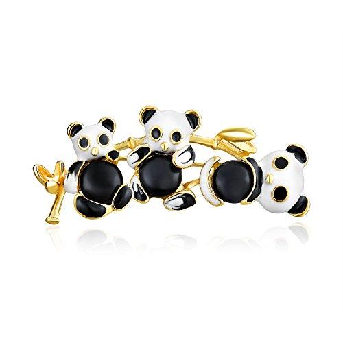 Bling Jewelry Mode-Statement Schwarz Weiß Familie Trio Panda Brosche Pin Für Frauen Für Teen Für Mutter Für Frauen 14K Vergoldet Messing