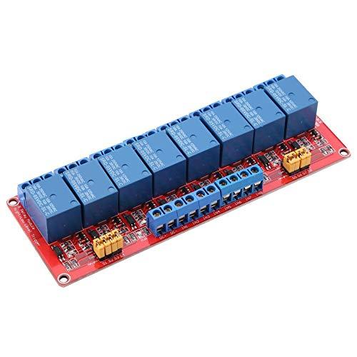 Akozon Módulo de relé, módulo de relé optoacoplador de 8 Canales, Disparador Alto y bajo de 5 V/12 V/24 V con Cuatro Orificios para Pernos de fijación(24V)
