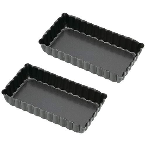 Kitchen Craft KCMINIOBFLAN Set de 2 Antiadhésive Mini Moules à Tarte, Acier, Noir, 9 x 12 x 16 cm