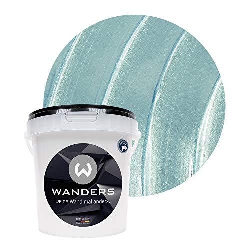 Wanders24® Metall-Optik (1 Liter, Eisblau) Wandfarbe Metallic - zum Spachteln im Metallic Look - in 17 edlen Farbtönen erhältlich - Made in Germany