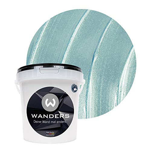Wanders24® Metall-Optik (1 Liter, Eisblau) Wandfarbe Metallic - zum Spachteln im Metallic Look - in 17 edlen Farbtönen erhältlich - Made in Germany