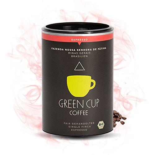 Green Cup Coffee Nossa Senhora - fair gehandelter Bio Arabica Espresso - mittelstarker brasilianischer Fairtrade Gourmet Espresso aus ganzen Bohnen - 227g Dose ganze Bohne