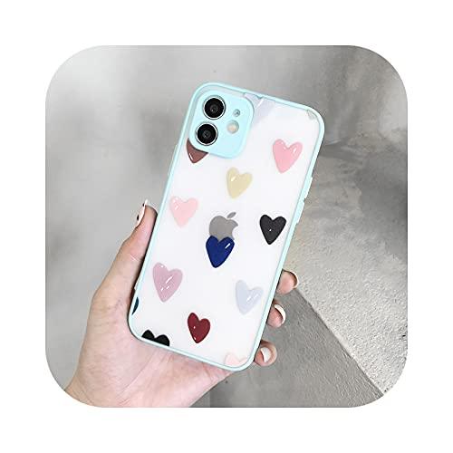 Mate lindo amor de dibujos animados corazón patrón teléfono caso para iPhone 11 12 Pro Max X XR XS 7 8 Plus SE2020 suave TPU a prueba de golpes contraportada azul cielo para iPhone 12Pro Max