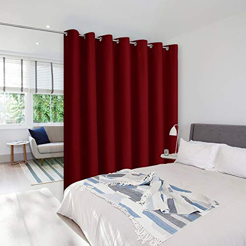 NICETOWN Sound Blocking Room Dividers Curtains Screens Partitions, Function Thermal Blackout Patio Door Panel, Sliding Door Insulated Curtains, Wide Curtains, 8.3ft Wide x 7ft Long, Burgundy Red