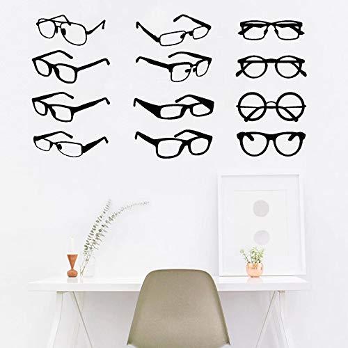 DLYD Gafas Etiqueta de la Pared Gafas Vitrina Calcomanía Tienda Oficina Decoración de la Pared Oftalmología Decoración de la habitación Gafas Arte del hogar Mural 30x57cm