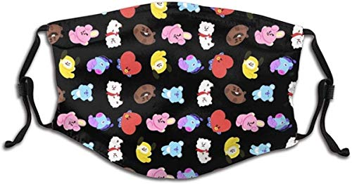 BTS Chimmy Green Kpop Face Mask Balaclava Windproof For Kids Child Dustproof Mouth Cover with 2 FilterAdjustable Elastic Strap Made In USA mask Reusable and Washable for women men