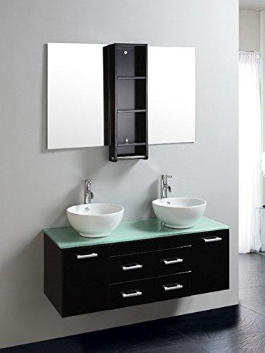 Bagno Italia Arredo Bagno doppio lavabo 120 cm mobile sospeso moderno top in cristallo specchio e miscelatori inclusi Mobili l