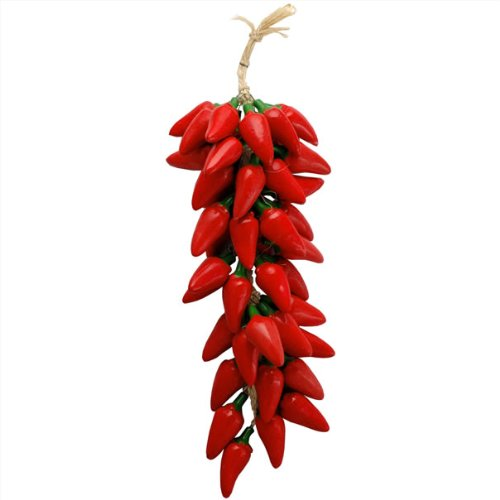 Chili Pepper Red Green Jalapeno Clay Ceramic Ristra Strand New Mexico Chilies Decor Artisan Made