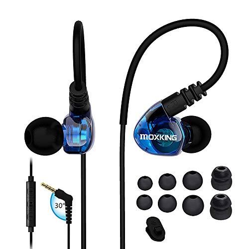 auricolari con filo k Corsa sport auricolari cuffie con cavo sopra l' orecchio auricolari cuffie isolamento acustico impermeabile auricolari bassi stereo auricolari con microfono e telecomando per corsa palestra … (blu)
