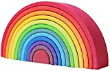12PCS Apilador de nido de arcoíris de madera Bloques de rompecabezas de nido de Grimm's Large Rainbow Stacker Board Bloques de construcción Regalo de desarrollo temprano para niños, niñas y niños peq