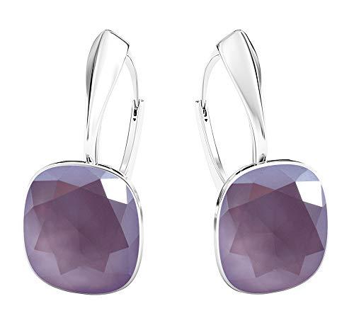 Crystals&Stones - Meravigliosi orecchini quadrati, grandi, diversi colori disponibili, in argento 925, con cristalli Swarovski Elements, da donna e Argento, colore: lilla, cod. 7