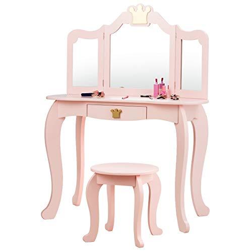 COSTWAY Kinder Schminktisch mit Hocker und Abnehmbarer Spiegel, Mädchen Frisiertisch Holz, Kindertisch mit Schublade, Spiegeltisch 80x42x105cm (Rosa)