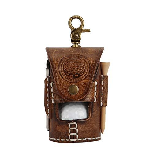 Tourbn Mini-Golfball-Tasche, Vintage-Stil, Leder, klassischer Tee-Halter