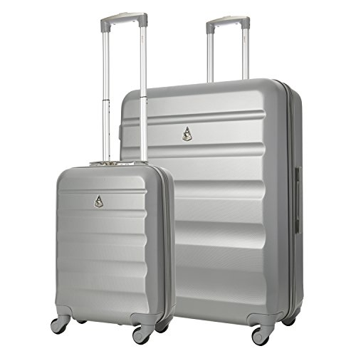 Aerolite Super Lightweight ABS Hard Shell Travel Suitcase Luggage Set with 4 Wheels (Cabin + Large, Silver)