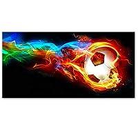 サッカーの抽象的なカラフルな炎を包んだサッカーポスターとプリントキャンバス絵画プリントウォールアートのリビングルームの家の装飾 (Color : A, Size (Inch) : 40x80cm(No Frame))
