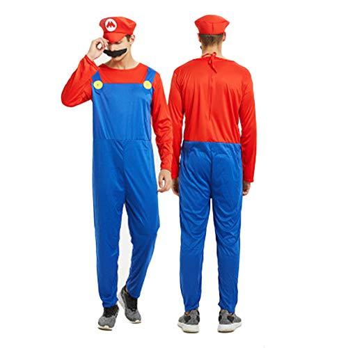 YANZZ Halloween Disfraz de Cosplay Padre-Hijo,Mario Super Marie Anime Disfraces de Fiesta de Carnaval H-M
