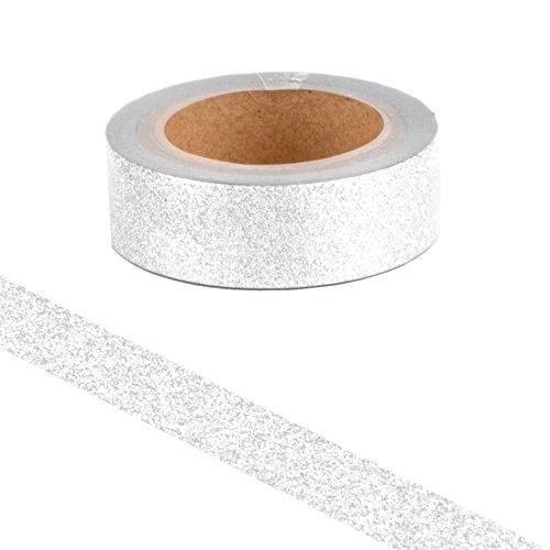 Simplydeko Washi Tape Glitter & Glitzer | Masking Tape | Washitape | Bastel-Klebeband aus Reispapier | Deko-Tape zum Basteln & Scrapbooking | Glitzer Silber