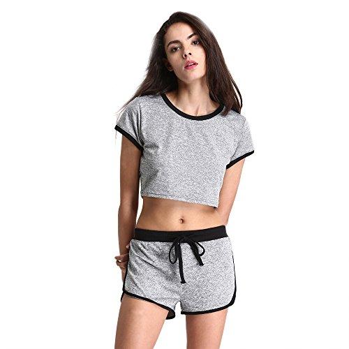 Damen Trainingsanzüge Baumwolle Kurzarm Sportlich Fitnessstudio Fitness Solide Beiläufig Lose Kurze Hose Yoga-Set