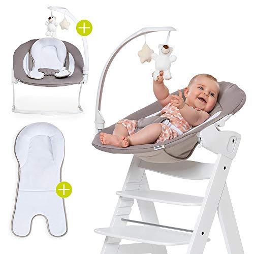 Hauck Alpha & Beta Hochstuhl Newborn Aufsatz - Bouncer 2in1 Deluxe - ab Geburt (für Neugeborene), Rückenlehne verstellbar und als Babywippe nutzbar - Sand