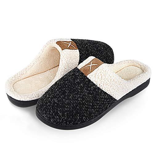 Damen Herren Hausschuhe Winter Memory Foam Pantoffeln Unisex Warm Plüsch und rutschfeste Indoor Bequem Slippers(Schwarz,44/45 EU)