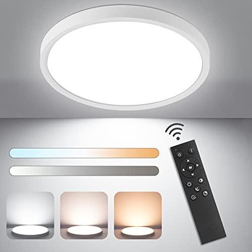 Plafon LED Techo 24W 2520LM - Regulable Lámpara de Techo Modernas LED con Mando a Distáncia 3000K-6500K Panel LED Ø30 cm para Habitacion Salon Dormitorio Cocina