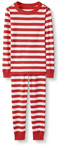 Hanna Andersson Kids Organic Cotton 2-Piece Long-Sleeved Pajama Set, Hanna Red/Hanna White, Size 90 cm