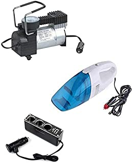 As Seen on TV Car Air Compressor Cylinder with Car Vacuum Cleaner and 3 Sockets USB Power Supply