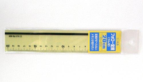 プラスチック加工専門店 【井上製作所】 フォロー定規20cm (FS-020) ※(ゴム付き) 黄色透明がメモリ・数字をスッキリと認識することが出来、滑り止めゴムがしっかり固定してまっすぐな線がきちんと引けます。
