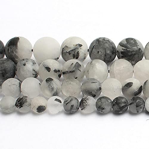 Piedra natural con cuentas mate, 4/6/8 / 10 mm, perlas de ágata agrietadas pulidas opacas y opacas para la fabricación de joyas y pulseras.-cuarzo rutilado_4mm 92pcs