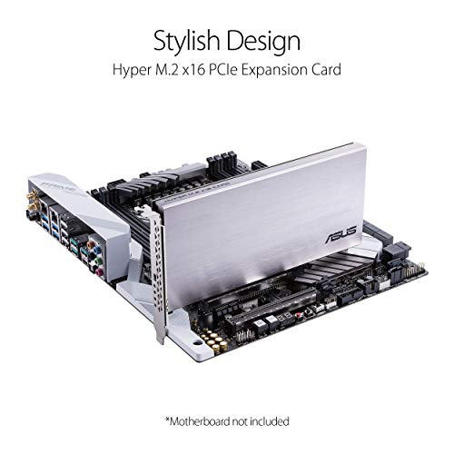 ASUS Hyper M.2 X16 PCIe 4.0 X4 Erweiterungskarte unterstützt 4 NVMe M.2 (2242/2260/2280/22110) bis zu 256 Gbps für AMD 3rd Ryzen sTRX40, AM4 Socket und Intel VROC NVMe Raid