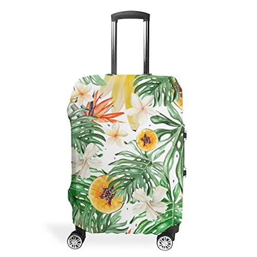 Monstera - Funda protectora para maleta, lavable, diseño de plantas tropicales hawaianas, frutas y flores