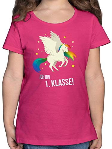 Einschulung und Schulanfang - Ich Bin erste Klasse - 128 (7/8 Jahre) - Fuchsia - Tshirt schulanfänger mädchen ich Bin 1. klasse - F131K - Mädchen Kinder T-Shirt