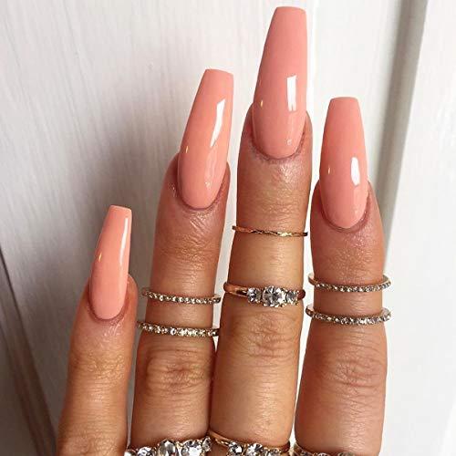 Brishow Lange Künstliche Nägel Ballerina Falsche Nägel Pure Color Acryl Drücken Sie auf die Nägel Full Cover Stick auf die Nägel 24 Stück für Frauen und Mädchen (Orange 1)
