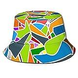 DJNGN Sombrero de Pescador Sombrero de Cubo Transpirable Unisex Caleidoscopio Abstracto Dibujos Animados Retro