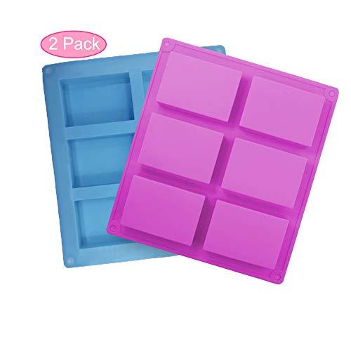 Silikonform, 2 Stück Seifenform 6-Cavity Rechteckige Silikonseifenform für Seifenherstellung, Muffins, Cupcakes,Schokolade, Biscuit DIY hausgemachte Handwerk(Blau+Violett)