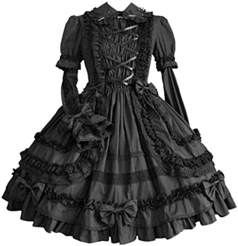I Youth Women Multi Layer Gothic Lolita Dress Bowknot Party Dress XL Black product image