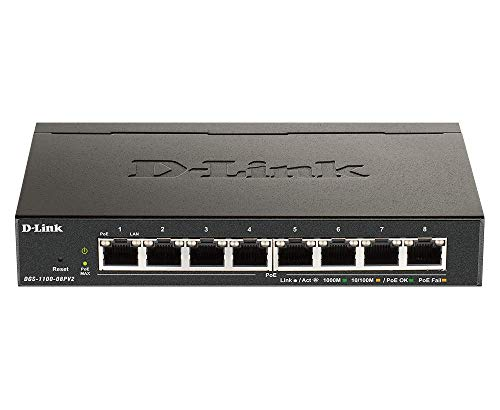 D-Link DGS-1100-08PV2 Smart Switch Gestito PoE, 8 Porte Gigabit PoE a 64W, 802.3af/at, Supporto VLAN, Funzionalità layer 2, QoS, 802.3az EEE, Senza Ventole