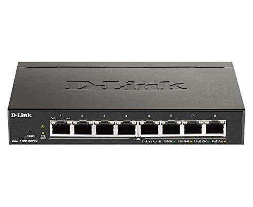 D-Link DGS-1100-08PV2, Switch Smart 8 Puertos Gigabit, PoE, Power Over Ethernet, Gestión Web, Layer 2, VLAN, sin Ventilador, IGMP Snooping, VoIP VLAN, QoS, Seguridad Red, sin Ventilador