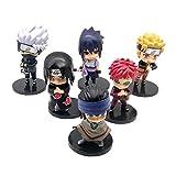 MNZBZ 6 unids/Set Anime Naruto Figura Juguete Sasuke Kakashi Sakura Gaara Itachi Obito Madara Killer...