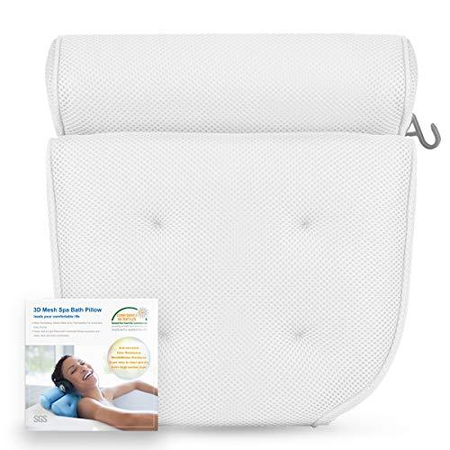 2 Bonus Bath Bombs Bundle Prevents Mold /& Mildew Ergonomic Neck /& Head Support Spa Tub Cushion Dr 4 Extra Large Suction Cups Quick Dry Mesh Fiber Maya Premium Luxury Bath Pillow