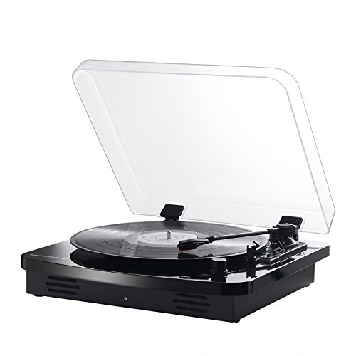 Musitrend Portable Record Player Bluetooth, 3-Speed Bluetooth Suitcase Turntable with Speakers Support Vinyl-to-MP3 Recording, Bluetooth Transmitter, Pitch Control and RCA Output,Home Audio Black
