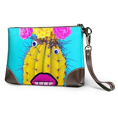 XCNGG Weiche wasserdichte Frauen Clutch Bag Nette Cartoon Cactus Womens Leder Clutch Geldbörse mit Reißverschluss für Frauen Mädchen