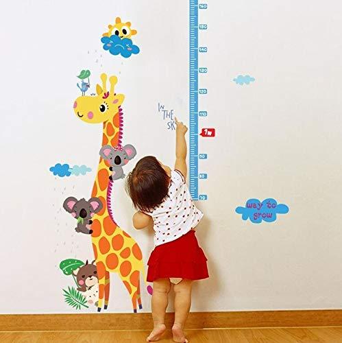 90 * 140 cm giraffe in de wolken zon cartoon muurstickers hoogte liniaal maat voor kinderkamer kinderkamer kinderdagverblijf voor huisdecoratie