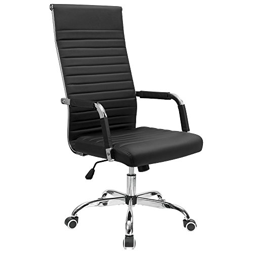 Furmax Ribbed Office Chair High Back PU Leather Executive Conference Chair Adjustable Swivel Chair...