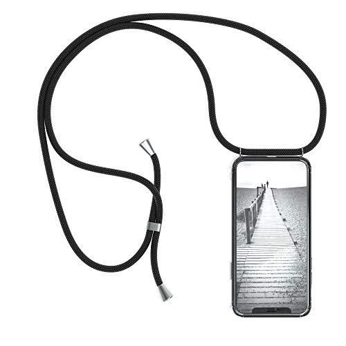 EAZY CASE Handykette kompatibel mit Apple iPhone X, iPhone XS Handyhülle mit Umhängeband, Handykordel mit Schutzhülle, Silikonhülle, Hülle mit Band, Stylische Kette mit Hülle für Smartphone, Schwarz