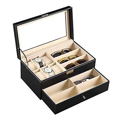 WSJTT Glass Top Watch Black Leather Box Case Display Organizer Storage Tray Watch Box for Men & Women Leather 6 Watch Box Jewelry Case and 9 Piece Eyeglasses Storage and Sunglass Glasses Display Drawe